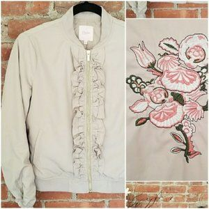 NEW * Candie's Bomber Jacket Embroidered Flowers